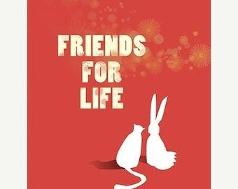 50% Off Summer Sale - Rabbit Cat Art - Friends for Life (red) - 8x10