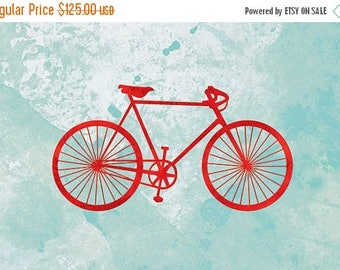 50% Off Summer Sale - Bicycle Art Print - (red and turquoise) - 24x36 Fine Art Print