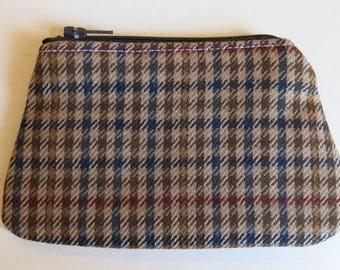 Coin purse in soft wool tweed
