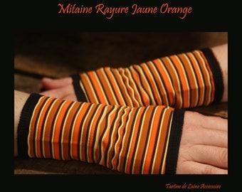 Short glove/cuff stripe orange/yellow and black Lycra.