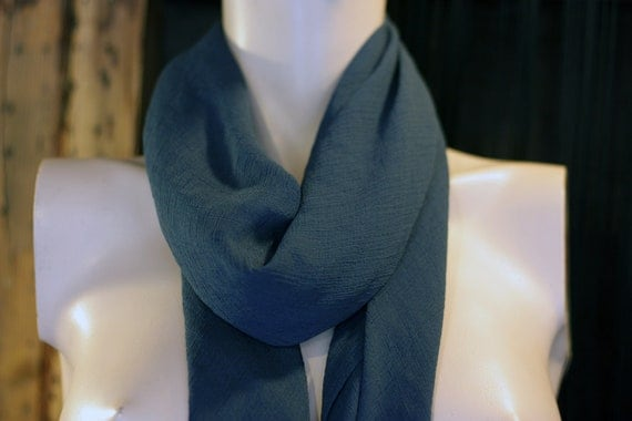 Shawl square scarf in Prussian blue silk Crepe. Square scarf.