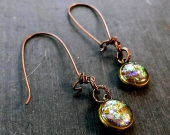 Sparkly dangle earrings, copper fish hook earrings