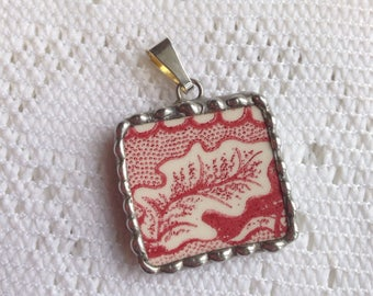 Broken China Jewelry - Red Transferware Square