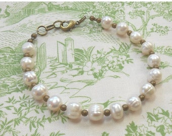 ON SALE Freshwater pearl and Brass Bracelet