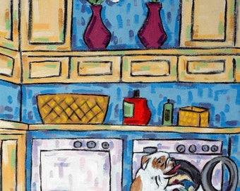 20 % off storewide Bulldog Doing the Laundry Dog Art Print   JSCHMETZ modern abstract folk pop art gift