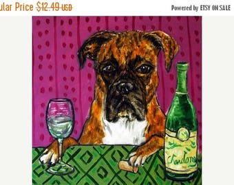 20 % off storewide Boxer at the Wine Bar (1) Dog Art Tile Coaster Gift