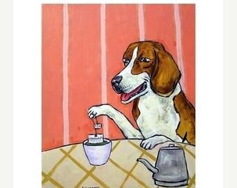 20 % off storewide Beagle Steeping Green Tea  Dog Art Print