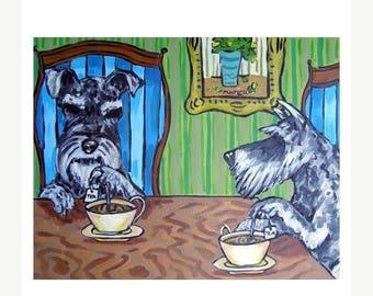 20% off storewide Schnauzers Steeping Tea Dog Art PRINT 11x14 JSCHMETZ MODERN abstract folk pop art