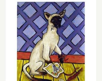 20% off Siamese Doing Needlepoint Cat Art Print  JSCHMETZ modern abstract folk pop art AMERICAN ART gift