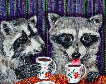 20% off raccoon coffee animal art tile coaster  JSCHMETZ modern abstract folk pop art AMERICAN ART gift