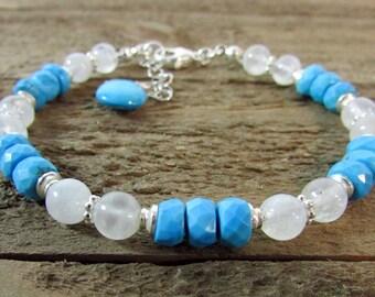Turquoise & Moonstone Bracelet, Delicate Turquoise Bracelet, Gemstone Bracelet, Turquoise and Silver Bracelet