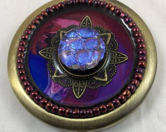 Unique Handcrafted Double Mirror Compact/ One of a Kind/ Fused Glass/ Gift/ Bronze