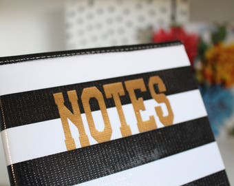 OUTLET black stripe oilcloth cover for moleskine notebook - fits classic large 5 x 8.25 size hardcover