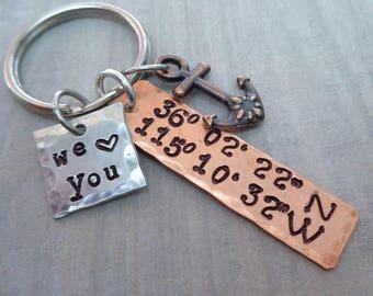 Latitude Longitude Anchor Love Home Keychain- We love you- You are the Anchor- Home is Anchor GPS Coordinates Dad Mom Love Anchor -K104