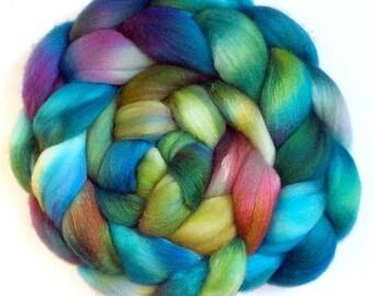 Silk and Polwarth Roving (40/60) Handdyed - Rainbow Fish