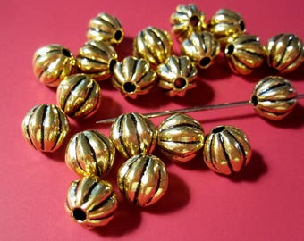 Antique Gold Beads | Fluted Round Beads | 7mm Round Melon Beads | Antique Gold Metal Beads MB1136 F17
