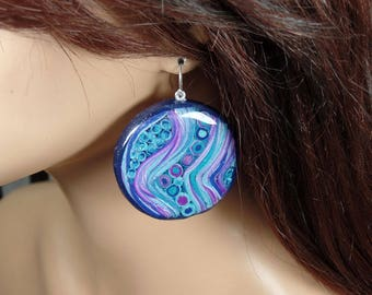 Polymer clay dangle earrings, blue, violet, turquoise, round