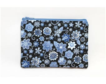 Cosmetic Case, Cord Case, Bridesmaid Gifts, All-Purpose Zipper Case, Small Blue Floral 9052