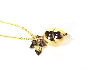 HALF PRICE SALE Woodland acorn and leaf golden charm necklace