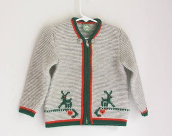 Vintage St. Peter Trachten cardigan Austrian wool sweater red green and gray 2t 3t