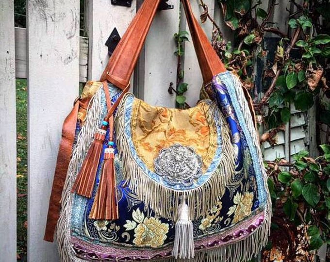 Custom Bohemian Gypsy Traveler Hobo Bag ~ Festival Bag, Overnight Bag, Exotic Bohemian Slouch Bag with Genuine Leather ~ Made to Order