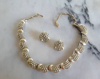 Signed Coro  Demi Parure Gold Necklace Earrings