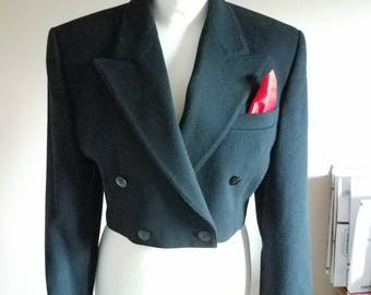 Black Wool and Cashmere ESCADA 80s Crop Blazer Jacket with Red Silk Pocket Square