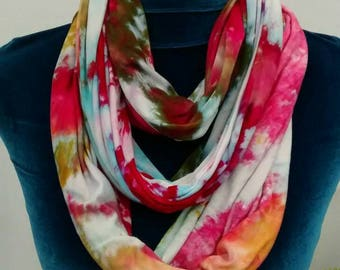 Cherry Pink Moss Green Sky Blue and Antique Gold Rayon Jersey Infinity Scarf