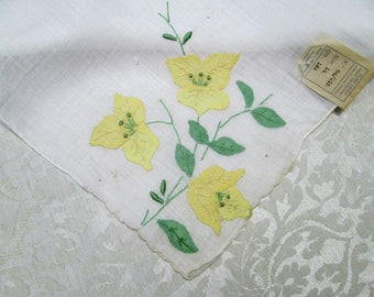 Vintage Madeira Handkerchief Hankie Hand Embroidered Handkerchief Yellow Green Floral Applique Embroidery MWT Tag Hand Rolled Vintage Linens