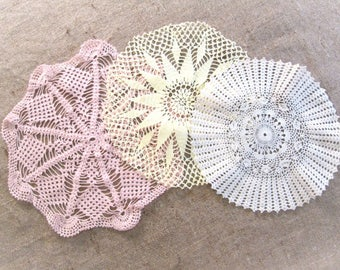 Vintage Crocheted Doily Lot 3 Doilies Vintage Table Linens Runner Vanity Dresser Scarf Hand Crochet Cottage Decor Shabby Chic Vintage Linens