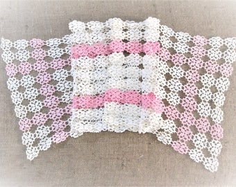 "Vintage Crochet Lace Table Runner Pink White Hand Crocheted Dresser Scarf Antique Linens Shabby Cottage Decor 53"" inches Vintage Linens"