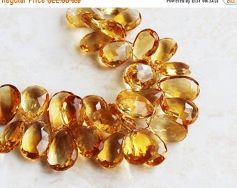 Deep Discount Sale Matched Citrine Gemstone Briolette Faceted Pear 17.5 and 18mm 2 beads