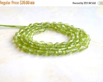 Deep Discount Sale Peridot Gemstone Briolette Faceted 3-D Tear Drop Green Center Drilled 4.5 to 5.5mm 75 beads Full Strand