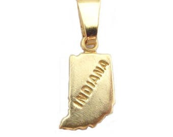 """Indiana State Necklace.  Raw Brass.  18"""" Gold Chain. Tiny."""