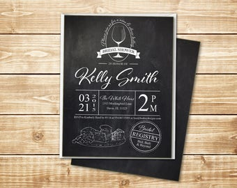 """PRINTED Chalkboard 4.25"""" x 5.5"""" Bridal Shower Wine and Cheese Invitation with white envelope"""