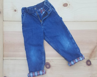 Vintage Kids Jeans  // Vtg OSH KOSH Made in the USA Soft Distressed Plaid Flannel Lined  Toddler Jeans  //  child size 2T 3T