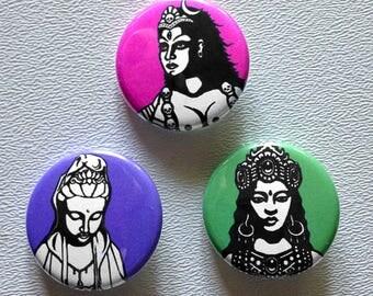 Goddess button pin set