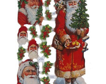 Germany Paper Lithographed Die Cut Scraps Santa Claus Christmas  7219
