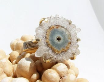Solar Quartz Ring, crystal point ring, natural stone ring, stalactite ring, boho jewelry, geek jewelry, crystal cluster, prong set, size 7