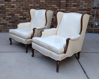 2 french country wing back bergere arm chairs