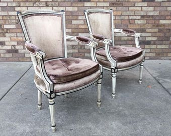 2 shabby chic FRENCH provincial velvet arm chairs