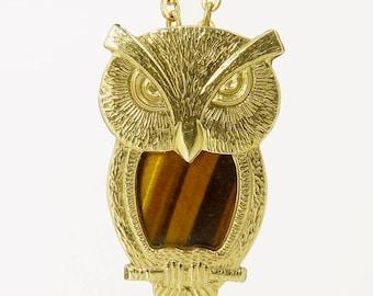 Vintage Gold Filled Owl Pendant Necklace Tiger Eye Gemstone