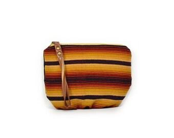 wristlet clutch • wrist strap • striped - stripes - honduran textile - red yellow black - black waxed canvas - summer style