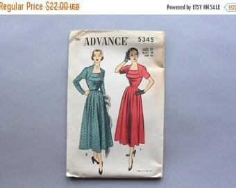 STOREWIDE SALE Vintage 40s Dress Pattern / Uncut FF Advance 5345 1950s Dress Pattern / size 20 Bust 38 Waist 32 Full Skirt Dress Sewing Patt