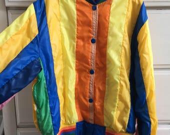 Vintage 1980s childs rainbow striped jacket windbreaker
