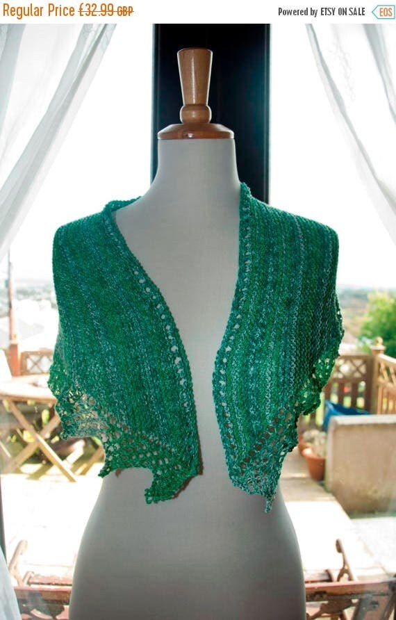 Christmas In July Handknitted Sparkly Shawl/Shawlette in Shades of Green and White