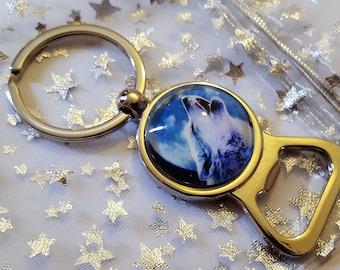 Beautiful Silver plated Wolf Key Charm Key Ring Bottle Opener