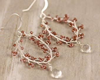 Garnet and Crystal Bridesmaid Chandelier Statement Earrings