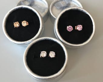 Beautiful handcrafted 18 Kt  ROSE GOLD   Solitaire Earring Studs-Choice of White-Pink or Peach TOPAZ-Wedding-Holiday gift