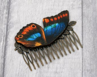 Blue and Orange Butterfly Hair Slide, Blue Hair Comb, Girls Hair Accessory